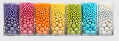 Layer our gumballs, Sixlets and Pearls in glassware to get this awesome effect!