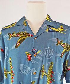 Paradise Found Airplane Hawaiian Shirt L World War II Military Made In Hawaii #ParadiseFound #Hawaiian