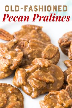 Old-Fashioned pecan pralines are sweet and delicious. Sometimes called New Orleans pralines or southern pralines, these are an easy to make treat! Old-Fashioned Pecan Pralines - Old-Fashioned Pecan Pralines Recipe Pecan Recipes, Sweet Recipes, Pecan Pralines Recipe Easy, Louisiana Pralines Recipe, Pecan Desserts, Best Pecan Praline Recipe, Pecan Brittle Recipe Easy, Recipes With Pecans, Praline Cookies Recipe