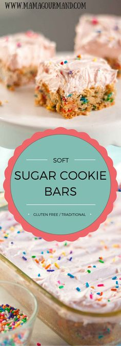 This soft sugar cookie bar recipe is a dessert lover's dream come true. They are hands down the best bar cookie recipe out there, and everyone will be begging you for the recipe. www.mamagourmand.com