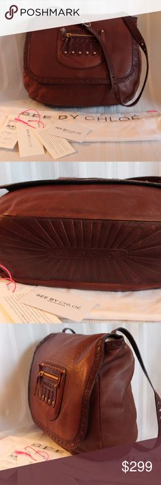 """Fabulous  Chloe  Kiltie Spectator Purse Bag Genuine brown soft lamb leather See by Chloe Hilo in color """"Jammy""""in a very cool spectator style with kiltie 10.75″ h X 13.5″ w X 4.5″ deep Strap  drop adjustable 10"""" X 13.5 Includes dust bag and original tags (not new but including all tags) Gently used condition inside and out, I would not offer it unless I would be proud to wear it myself.  All of my items are Guaranteed 100% Genuine I do not sell FAKES of any kind! NO TRADES (001S096) See By…"""