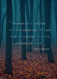 """The heart will rest and feel relief if it is settled with Allah and it will worry and be anxious if it is settled with people"" Ibn Al-Qayyim. Islam"