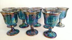 Our most popular item on Etsy! Vintage Glasses by Indiana Glass Company Blue Harvest Pattern Carnival Glas Set of Eight Goblets   Check out this item in my Etsy shop https://www.etsy.com/listing/233807064/vintage-glasses-indiana-glass-company