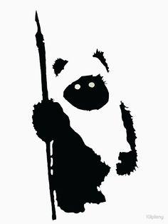 'Ewok Silhouette' T-Shirt von Kiipleny Star Wars Silhouette, Silhouette Art, Silhouette Projects, Star Wars Stencil, Star Wars Art, Stencils, Stencil Art, Ewok, Carte Star Wars