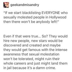 Yeah start hiring the people that were turned away when they didn't agree to be sexually assaulted.
