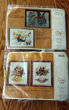 Crewel Embroidery Kits Creative Circle #0525 Sunflowers Daisies #321 Flower Cart #CreativeCircle