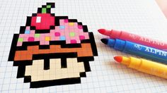 Handmade Pixel Art - How To Draw Cupcake Mushroom Easy Pixel Art, Pixel Art Grid, Pixel Art Champignon, Pixel Art Animals, Grille Pixel Art, Pixel Art Minecraft, Art Kawaii, Modele Pixel Art, Pixel Drawing