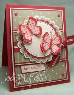 sweet handmade card ... red, cream & kraft ... lots of layers ... scalloped circles ... butterflies ...