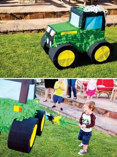 We've collected 19 of our favorite John Deere tractor birthday party ideas Included in this round up are a pin-the-tires on the tractor party game, adorable party supplies, DIY John Deere burlap favor bags and 2 Year Old Birthday Party, Birthday Pinata, Second Birthday Ideas, Farm Birthday, Animal Birthday, Boy Birthday Parties, Birthday Banners, Birthday Invitations, Ideas Bautizo