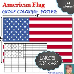 FREE! Great for Labor Day. This American Flag poster is a great group activity.  Together students will color the poster, assemble it and display it in their classroom to let visitors know their classroom is a creative, collaborative and patriotic place!