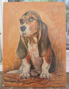 Vintage Mid-Century DOG Portrait Oil Painting BASSET HOUND Signed Lynn Spaugh #Realism