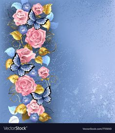 Buy Pink Roses and Butterflies by on GraphicRiver. Pattern of interwoven pink roses and blue violets, blue butterflies decorated in the fashion textural background. Butterfly Background, Butterfly Cards, Blue Butterfly, Photo Backgrounds, Wallpaper Backgrounds, Wedding Photo Background, Glitter Phone Wallpaper, Hall Of Mirrors, Floral Wall Art