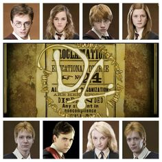 Dumbledore's Army. Harry, Hermione, Ron, Ginny, Fred, Neville, Luna, and GEORGE. :D