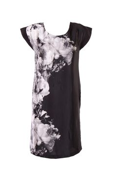 Jet Black Floral Printed Kurta In Japanese Satin With U Neck And Raglan Sleeve; 39 Inches In Length #Wishful #Clothing #Fashion #Style #Kurti #Wear #Colors #Apparel #Semiformal #Print #Casuals #W for #Woman