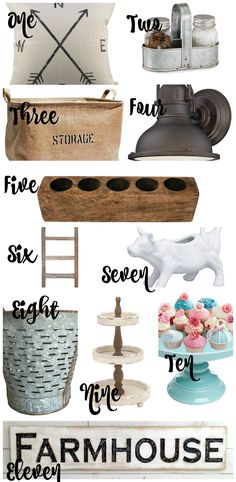 Affordable Farmhouse Finds Collage for Post by www.mylifefromhome.com