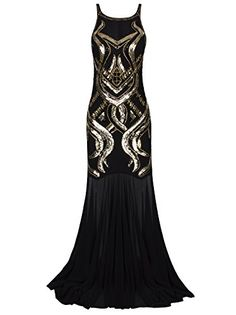 4210dbcbcbf Vijiv 1920s Beaded Sequin Embellished Art Deco Long Gatsby Flapper Prom  Dress Black Gold XLarge
