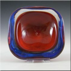 Murano/Sommerso Red & Blue Cased Glass Geode Bowl - £20.00