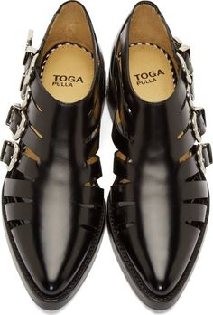 Toga Pulla: Black Leather Cut-Out Buckled Shoe   SSENSE