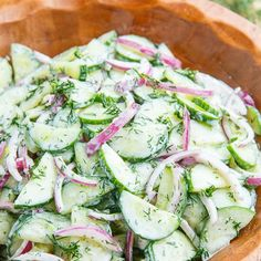 Creamy Cucumber Salad This cucumber salad reminds me of Germany and the grill night we did with my husband's family as a welcoming to me. The fresh dill really sets off the flavor of the cucumbers salad Creamy Dilled Cucumber Salad Recipe Creamy Cucumber Salad, Creamy Cucumbers, Cucumber Recipes, Summer Salad Recipes, Diet Recipes, Vegetarian Recipes, Cooking Recipes, Healthy Recipes, Recipes With Dill