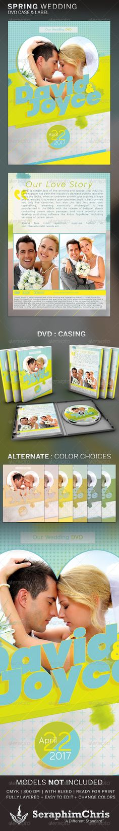 This Spring Wedding: DVD Template is customized for Weddings that needs a crisp colorful and bright presentation to represent the special occasion. Colors can be easily changed to match ones specificity. This premium design is constructed to give the highest dynamic quality when printed or posted to social media sites and other formats. This file is exclusive to graphicriver.net