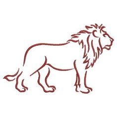 Ace Points Embroidery Design: Lion Outline 2.43 inches H x 3.84 inches W