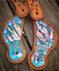 Cowboy Junkie painted spur straps these are jaw dropping GORGEOUS!!!!! Go to the cowboy junkie website... You'll be blown away!!!!