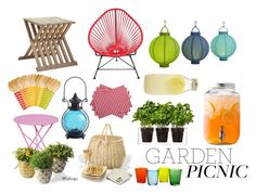 """""""Garden Picnic"""" by maloops ❤ liked on Polyvore featuring interior, interiors, interior design, home, home decor, interior decorating, Boskke, Pier 1 Imports, C. Wonder and Bormioli Rocco"""