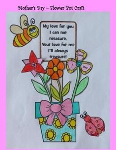 This is a great Mother's Day Craft!Includes step-by-step instructions and templates needed to create a Mother's Day Flower Pot.Students can either work from scratch or use one of the two partially completed templates to create this Mother's Day Flower Pot.