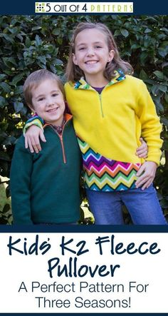 PDF Sewing pattern for a kids' fleece pullover with a quarter zip. Solid and contrast, side seam pockets, and hidden pocket options included. Boys Sewing Patterns, Fleece Patterns, Clothing Patterns, Pdf Patterns, Pattern Ideas, Baby Patterns, Kids Clothing, Fall Sewing, Love Sewing