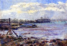 Port of Melbourne Frederick McCubbin - circa 1909 Australian Painters, Australian Artists, Nz Art, Impressionist Artists, Post Impressionism, Pre Raphaelite, Melbourne, Coastal, Ocean
