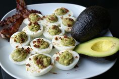 Paleo Avocado Deviled Eggs with Bacon