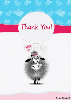 "Download the royalty-free photo ""Thank You! greeting card design. Cutest sheep sends you a Thanks. You can share your card on social media, to print this card or send it in a email."" created by sofiartmedia at the lowest price on Fotolia.com. Browse our cheap image bank online to find the perfect stock photo for your marketing projects!"