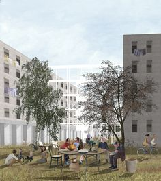 New spaces for a social housing neighborhood in San Siro, Milan Architecture Background, Architecture Collage, Architecture Visualization, Architecture Drawings, Landscape Architecture, Architecture Design, Architecture Illustrations, Social Housing Architecture, Photoshop