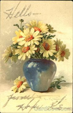 Yellow flowers in blue vase C. Klein