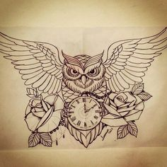 Imagem de owl, tattoo, and drawing