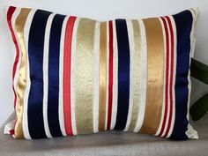 Linen Uphostery fabric Custom made Sateen ribbon trimming Poly Filling Filler Button closure at the back Gold Ribbons, Interior Decorating, Cushions, Throw Pillows, Fabric, Home Decor, Tejido, Toss Pillows, Toss Pillows