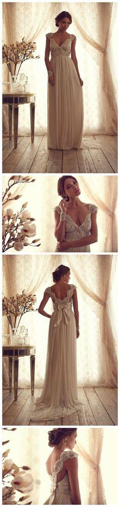 $189--Vintage beadings Long Chiffon Wedding Dress FROM 27DRESS.COM Pinned by  Michael Eric Berrios DJMC #AwesomeweddingDJ  #Miamiwedding #Miamibeachdj #miamibeachwedding #weddingdj