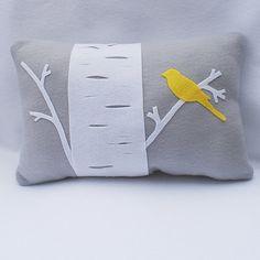 Birch Tree With Yellow Bird - Eco Felt Pillow by Sarah Smile - Art Craft Design