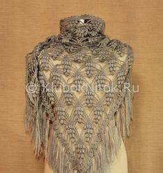 Шаль «Виноградная лоза» | Вязание для женщин | Вязание спицами и крючком. Схемы вязания.