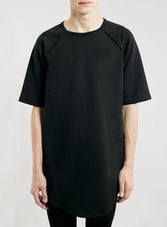 BLACK RAGLAN LONGER LENGTH T-SHIRT