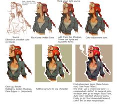 Quick tutorial I did for a friend. Basically, sketch > paint > Photoshop Magic > Finish
