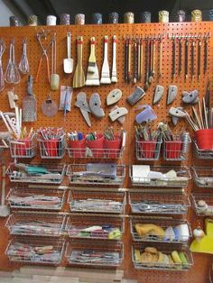 60 Most Popular Art Studio Organization Ideas and Decor - Ideaboz Art Studio Storage, Art Studio Organization, Art Storage, Organization Ideas, Ribbon Storage, Tool Storage, Art And Craft Videos, Easy Arts And Crafts, Clay Studio