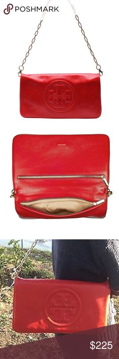 fe91bc7827 Tory Burch Red Bombe Leather Reva Clutch Purse Authentic and Comes in  Original Dust Bag Excellent Condition  No Flaws I Just Don t Ever Wear Last  Pic For ...