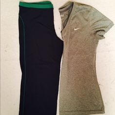 Nike DRI-FIT bundle Nike DRI-FIT bundle. Both size L. Light grey top. Dark grey and green bottoms (Capri). Great used condition. No stains, rips or tears. Nike Tops