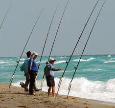 3 Fishermen Surf Fishing