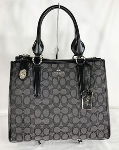 f4de49bdf540 Coach Signature Crosby Carryall Jacquard Leather Black Smoke Handbag Purse  33524