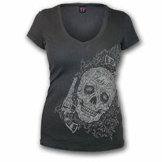 Lucky 13 DEADWOOD V-Neck Tee NEW Rockabilly Tattoo Sugar Skull #LW1160DW