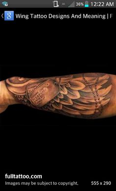 Forearm wings with grandpa's dog tags