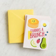 What better way to say thanks than to remind this card's recipient that brunch is a thing? Made in Chicago, USA. 10 - folded cards x 10 - sunshine envelopes Greeting & Note Cards, Fun Crafts To Do, Stationery Set, Stationary, Paper Source, Youre Invited, Folded Cards, Homemade Cards, Brunch
