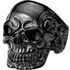 """Men's Vintage Gothic Skull Bone Biker Stainless Steel Ring Band Black Size 10. Please check our offer of 2000s discount jewelry. Material: Stainless Steel. Color: Black. Available sizes: 7,8,9,10,11,12,13. Including one black velvet bag printed """"MENSO""""."""